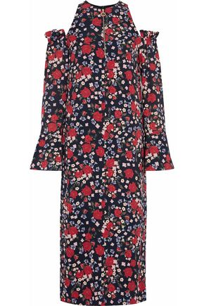 MOTHER OF PEARL Cold-shoulder ruffle-trimmed floral-print silk-crepe midi dress