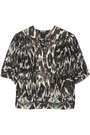 ISABEL MARANT Paden lace-up printed silk-georgette blouse