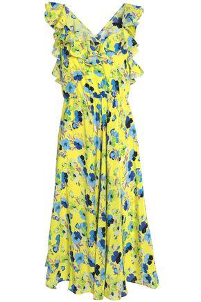 MSGM Pleated printed silk dress