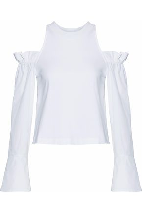 MOTHER OF PEARL Cold-shoulder poplin-paneled jersey top