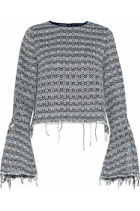 MOTHER OF PEARL Frayed embellished cotton-blend bouclé-tweed top