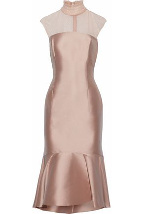 SACHIN & BABI Pleated satin and tulle midi dress