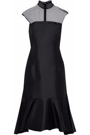 SACHIN & BABI Point d'esprit-paneled fluted satin midi dress