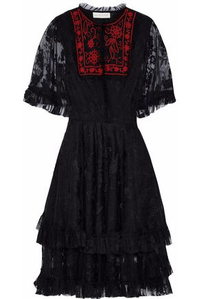 SACHIN & BABI Bead-embellished embroidered tulle dress
