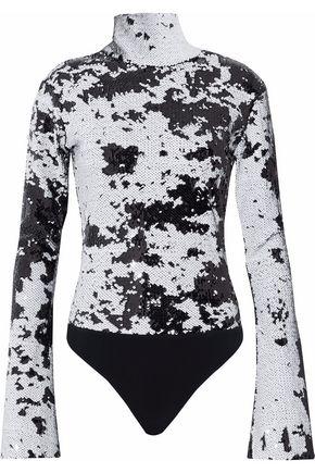 ALIX Sequined turtleneck stretch-jersey bodysuit