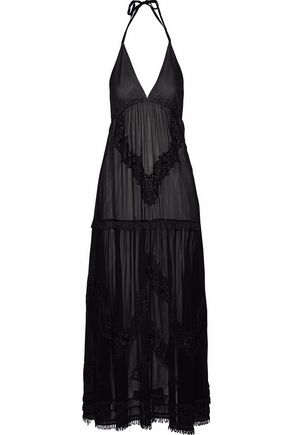 ALICE+OLIVIA Lupita embroidered chiffon halterneck maxi dress