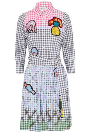 PETER PILOTTO Appliquéd gingham cotton-blend poplin shirt dress