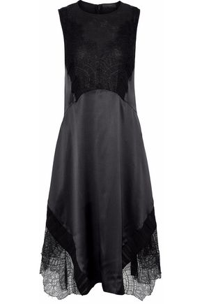 BELSTAFF Corded lace-paneled chiffon-trimmed silk-satin dress