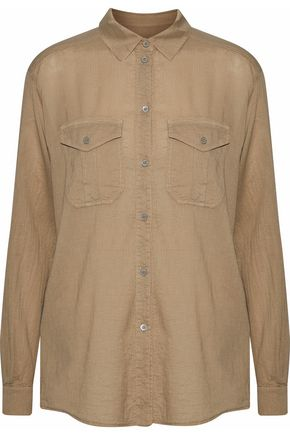 BELSTAFF Textured cotton and silk-blend shirt