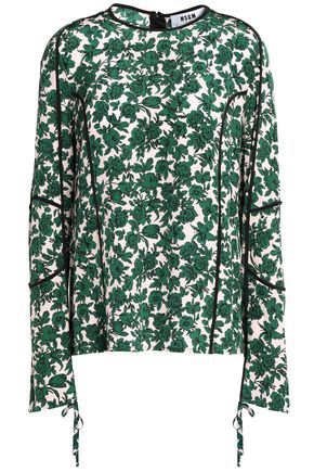 MSGM Draped floral-print silk crepe de chine top