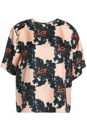MSGM Floral-print silk-twill blouse