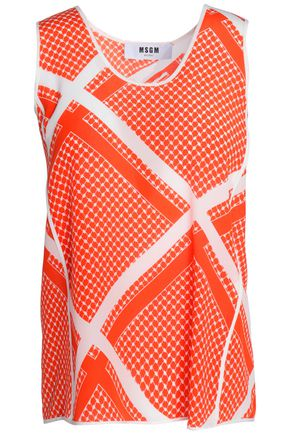 MSGM Printed silk crepe de chine top