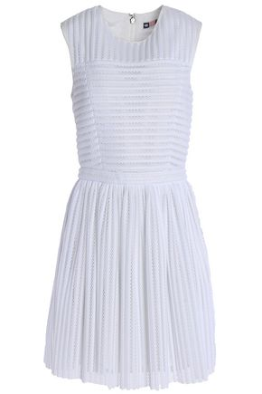 MSGM Paneled pleated mesh mini dress