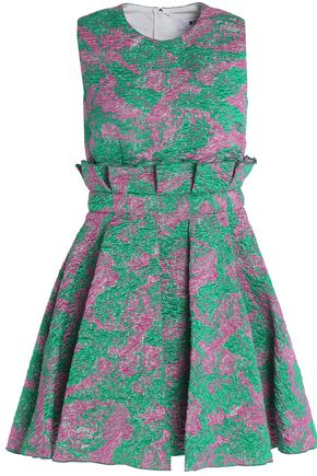 MSGM Ruffled pleated jacquard cloqué dress