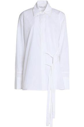 HELMUT LANG Tie-front cotton-poplin shirt