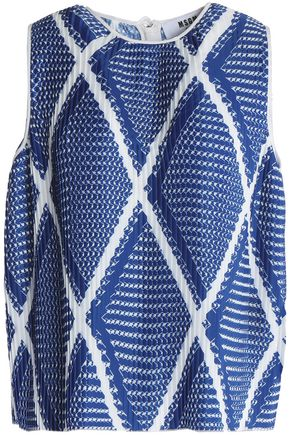MSGM Pleated printed crepe de chine top