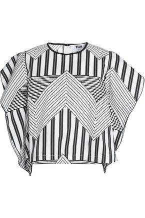 MSGM Striped cotton-poplin top