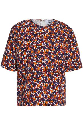 MSGM Printed cotton-faille top