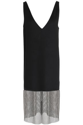 JIL SANDER Chainmail-paneled cashmere dress