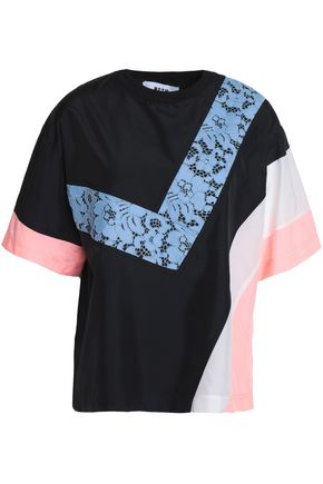 MSGM Corded lace and shell-paneled jersey T-shirt