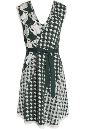 ACNE STUDIOS Paneled houndstooth-jacquard dress
