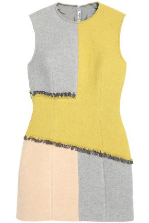 ACNE STUDIOS Frayed paneled boiled wool-blend dress