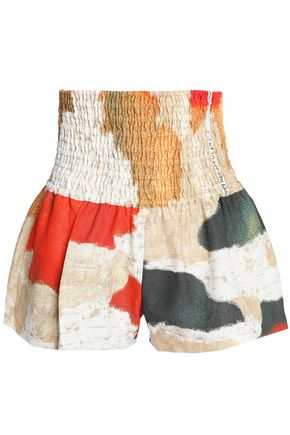 ACNE STUDIOS Shirred printed linen shorts