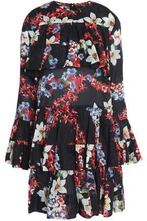 MSGM Ruffled tiered floral-print cotton-mousseline mini dress