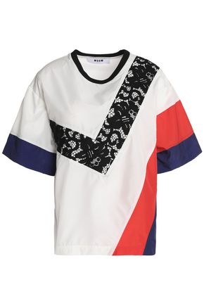 MSGM Corded lace-paneled shell T-shirt