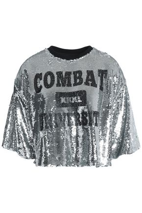 MSGM Cropped sequinned printed T-shirt