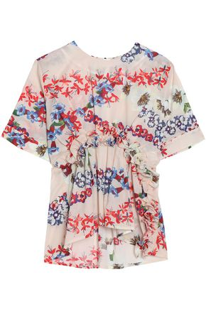 MSGM Gathered floral-print cotton-mousseline top