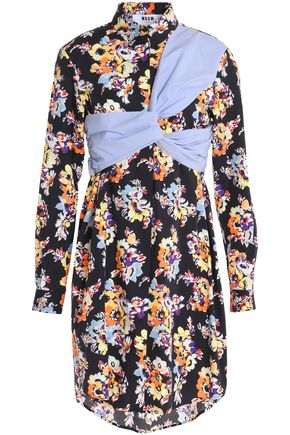 MSGM Paneled floral-print cotton-poplin shirt dress