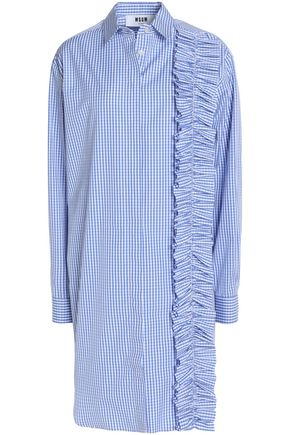 MSGM Ruffled gingham cotton-poplin mini shirtdress