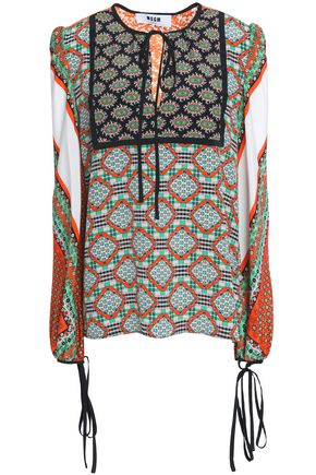 MSGM Tie-front printed silk-georgette blouse