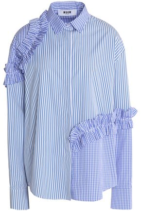 MSGM Ruffled gingham-paneled striped cotton-poplin top