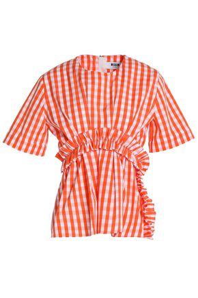 MSGM Gathered gingham cotton-poplin top