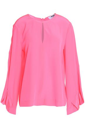 MSGM Draped neon silk blouse