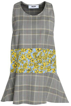 MSGM Floral-paneled flared checked virgin wool-blend top
