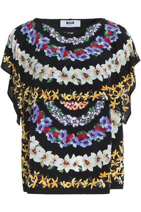 MSGM Draped floral-print silk-crepe de chine top