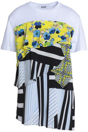 MSGM Paneled printed ruffled cotton-jersey T-shirt