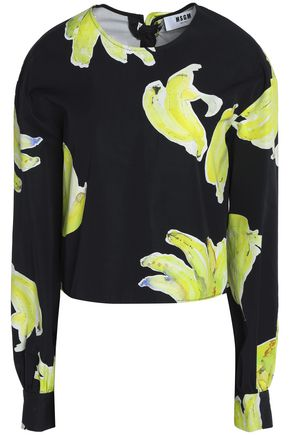 MSGM Open-back printed cotton-crepe top