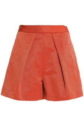 MSGM Pleated cotton-blend faille shorts