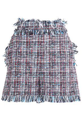 MSGM Frayed cotton-blend tweed shorts