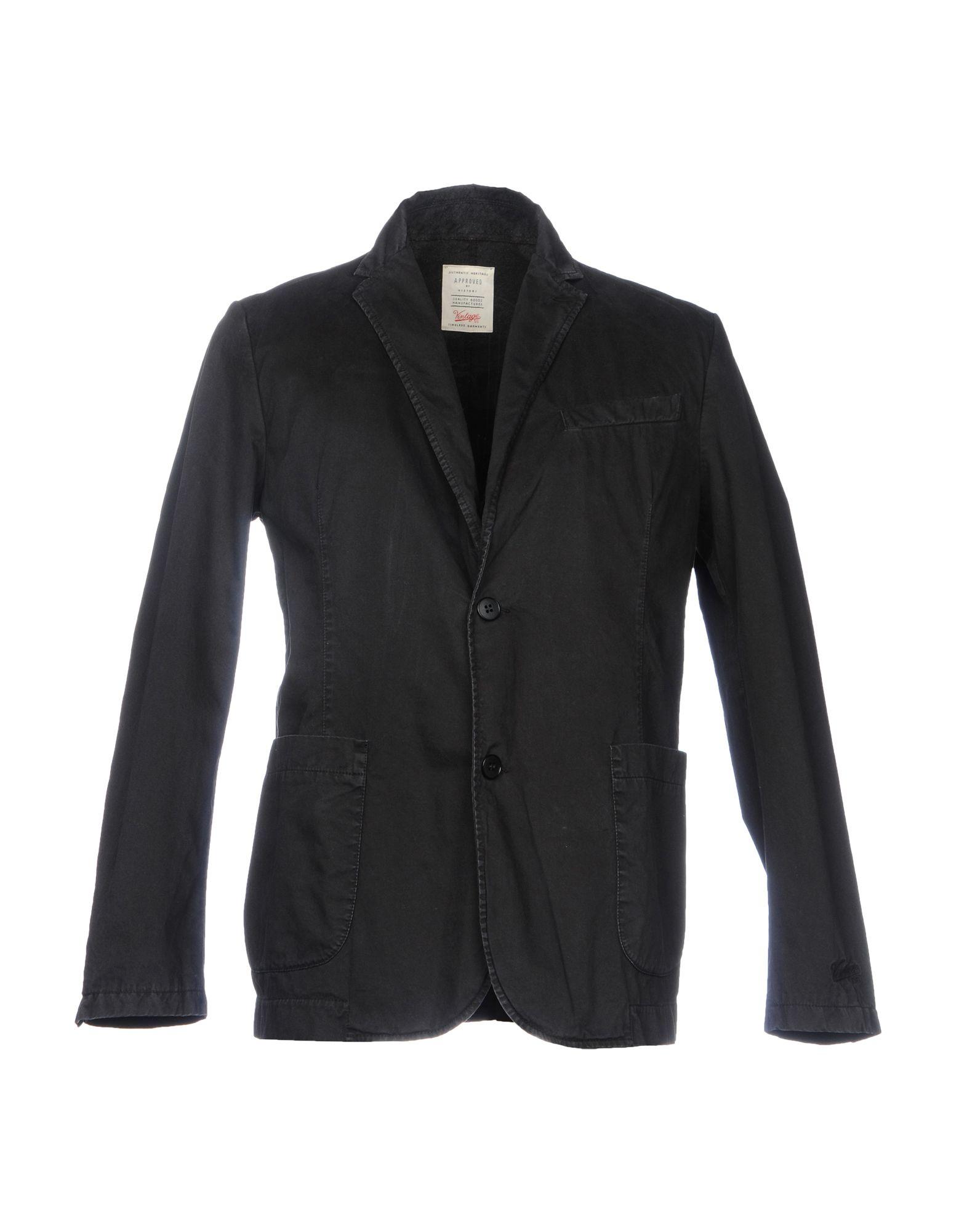 《送料無料》VINTAGE 55 メンズ テーラードジャケット ブラック L コットン 100%