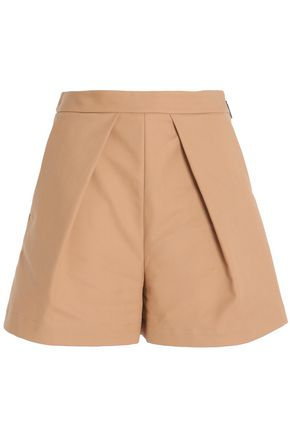 MSGM Pleated cotton-garbardine shorts