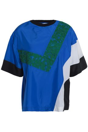 MSGM Lace-paneled color-block shell T-shirt