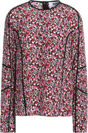 MSGM Floral-print silk-crepe blouse