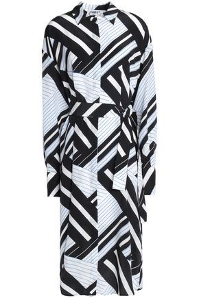 MSGM Printed silk wrap dress