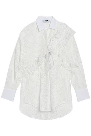 MSGM Ruffled broderie anglaise cotton shirt
