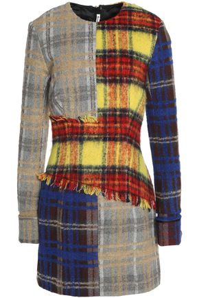 ACNE STUDIOS Frayed checked wool-blend mini dress